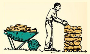 Як правильно складувати та зберігати дрова, транспортування дров тачкою.
