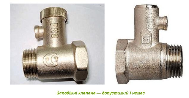 Клапани бойлера без примусового скидання тиску.